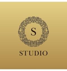 Monogram luxury linear logo company icon vector