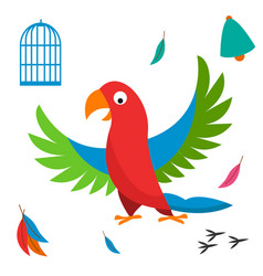 parrot bird cell wild animal vector image