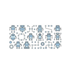 robots horizontal banner on white vector image vector image