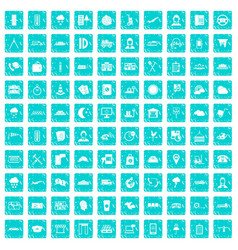 100 dispatcher icons set grunge blue vector