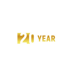 20 year happy birthday gold logo on white vector image