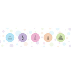 5 candles icons vector