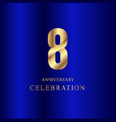 8 year anniversary celebration gold blue template vector
