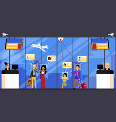 Airport equipped with identification facial system vector