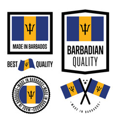barbados quality label set for goods vector image