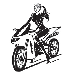 Beautiful girl with a motorcycle vector