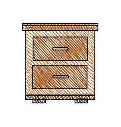 Bedside table wooden image vector