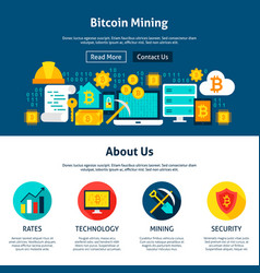 bitcoin mining website design vector image