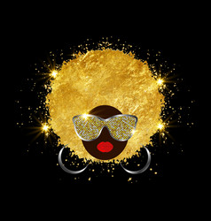 black woman in sunglasses and gold curly hair vector image