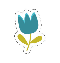 blue tulip flower spring cut line vector image