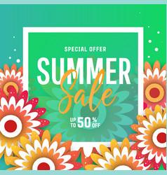 bright summer sale banner poster in trendy design vector image