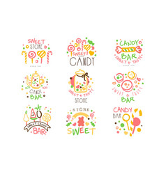 Candy shop promo signs set colorful vector
