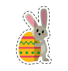 Cartoon easter rabbit hugging egg vector