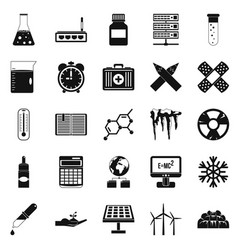 Chemical composition icons set simple style vector