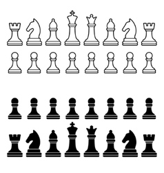 Chess Pieces Silhouette - Black and White Set vector image vector image