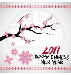 chinese new year 2017 card branches tree flower vector image