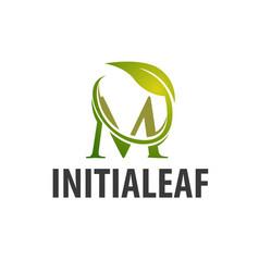 circle leaf initial letter m logo concept design vector image