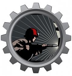 Coal miner badge vector
