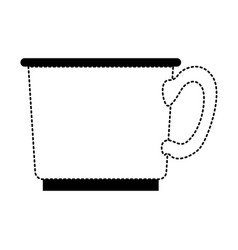 coffee cup icon in black dotted silhouette on vector image