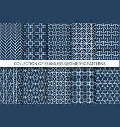 collection geometric seamless patterns grid vector image