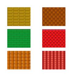 Color roof tiles set vector