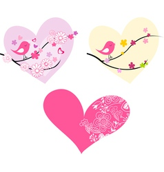 Cute birds hearts and flowers vector image vector image
