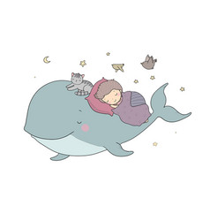 cute cartoon boy and whale good night time vector image