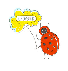 cute cartoon concept with funny bug ladybird vector image