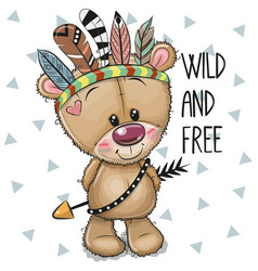 Cute cartoon tribal teddy bear with feathers vector
