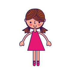 Cute fuchsia girl cartoon vector