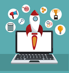 Digital marketing technology rocket vector
