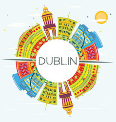 dublin skyline with color buildings blue sky and vector image