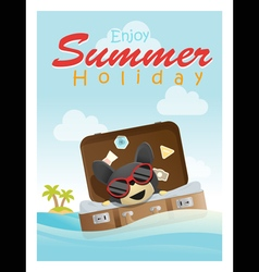Enjoy tropical summer holiday with little dog 3 vector