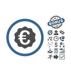 Euro Reward Seal Flat Icon With Bonus vector image