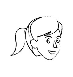 Face woman head hairstyle sketch vector
