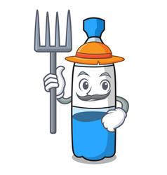 farmer water bottle character cartoon vector image