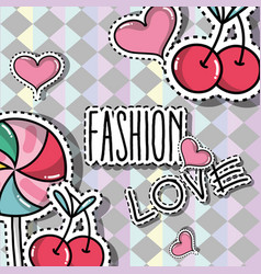 Fashion patches trendy backgroun design vector