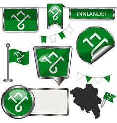 Flag innlandet norway vector