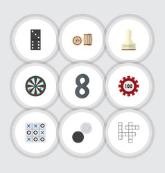 flat icon play set of lottery pawn poker and vector image