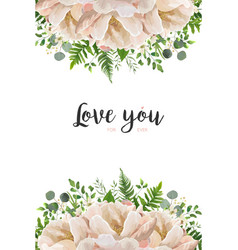 Floral card design with peony flowers greenery vector