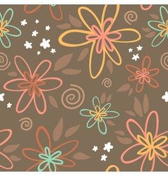Floral seamless pattern on brown background vector image