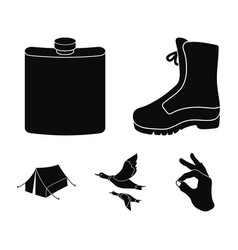 flying ducks flask boots tenthunting set vector image