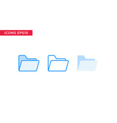 folder icon in line outline filled outline and vector image