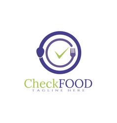 Food logo check icon concept vector