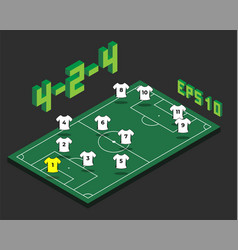football 4-2-4 formation with isometric field vector image