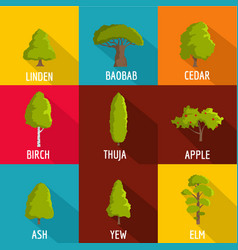 forest planting icons set flat style vector image