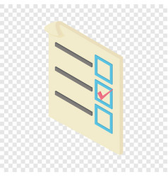 Form voting icon isometric 3d style vector