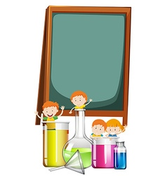 Frame design with students and science theme vector image