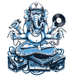 Ganesha music art vector