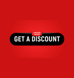 get a discount black web button on red background vector image